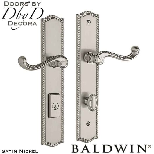 Baldwin satin nickel brixton multi-point entry set.