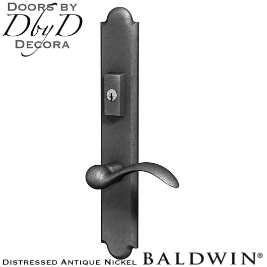 Baldwin distressed antique nickel boulder multi-point entry set.