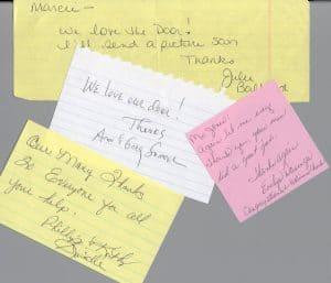 Multiple customer testimonials.