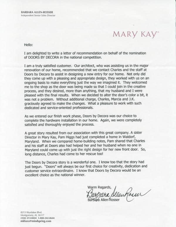 Mary Kay customer testimonial.