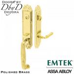 Emtek polished brass ribbon & Reed handleset.