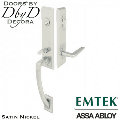 Emtek stain nickel apollo handleset.