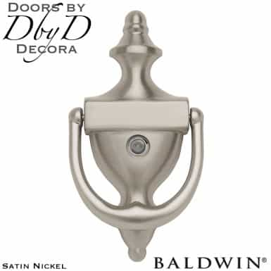 Baldwin satin nickel 0103 door knocker with peep hole.