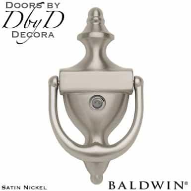 Baldwin satin nickel 0103 door knocker with peep hole.
