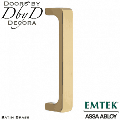 Emtek satin brass baden door pull.