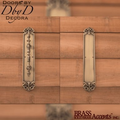 Brass Accents fleur de lis push/pull set.