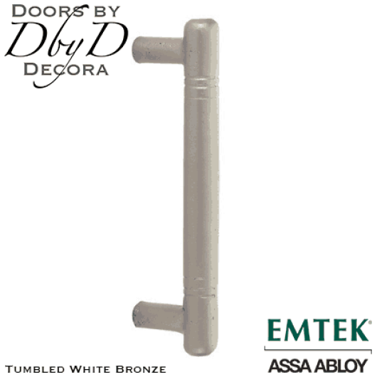 Emtek tumbled white bronze nunez door pull.
