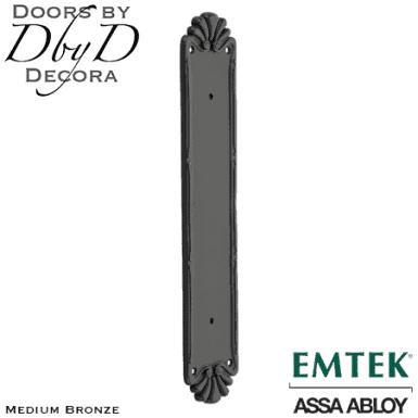 Emtek medium bronze petal pull plate.