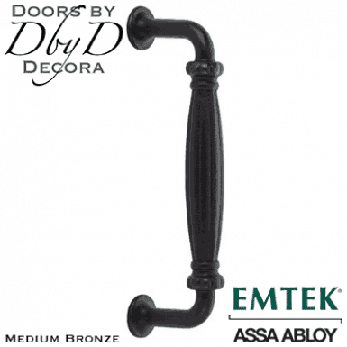 Emtek medium bronze recoleta door pull.