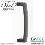 Emtek medium bronze rustic modern door pull.