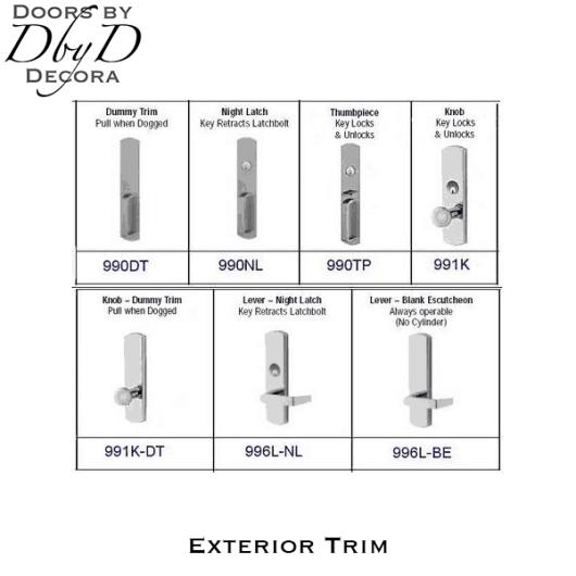 Von Duprin 98/99 series exit panic hardware exterior trim.