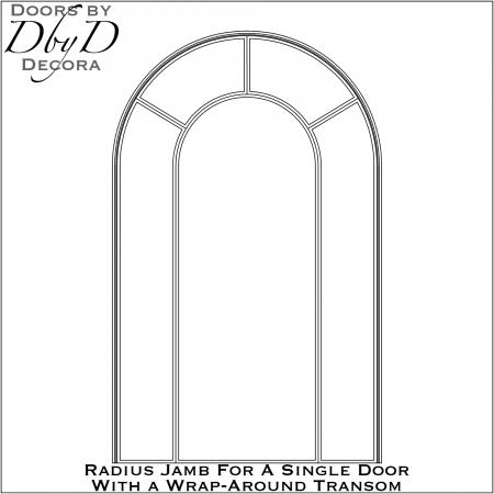 Radius jamb for a single door with transom