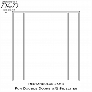 Rectangular jamb for double doors with sidelines
