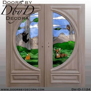 nature scene glass door