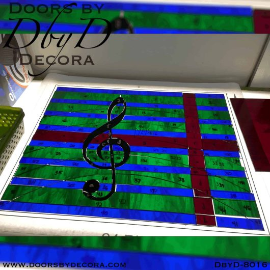 stained glass music themed window