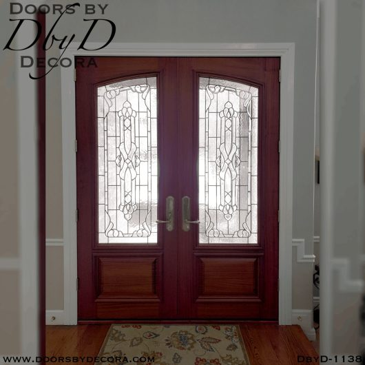 double doors with leaded glass