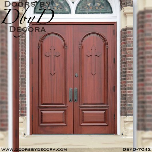 church doors with crosses