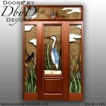 blue heron leaded glass door