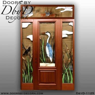 estate blue heron leaded glass door