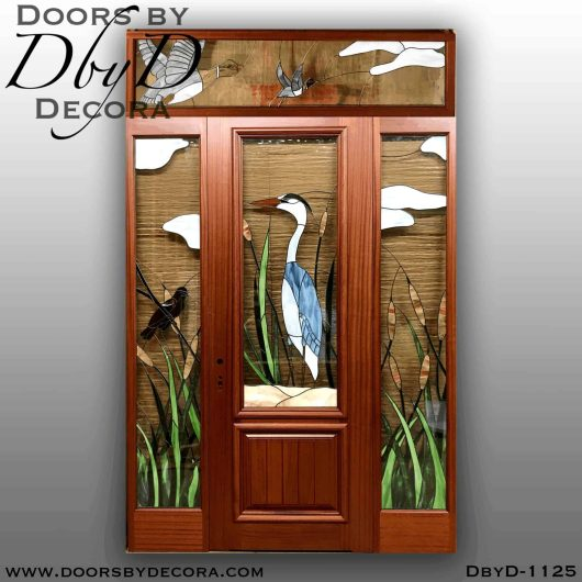 estate blue heron leaded glass door