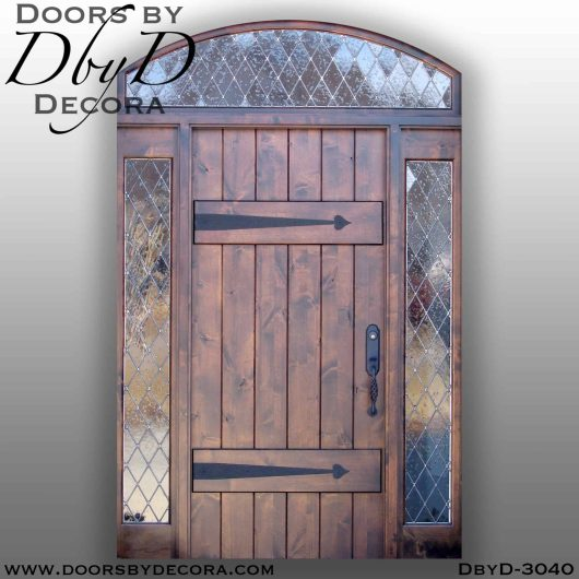 rustic plank door with side lites