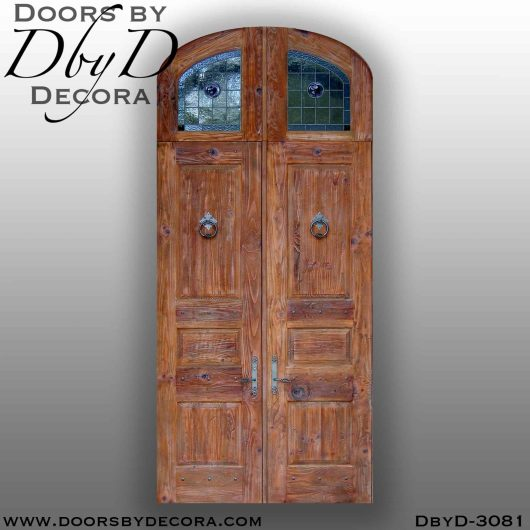 rustic door with leaded glass