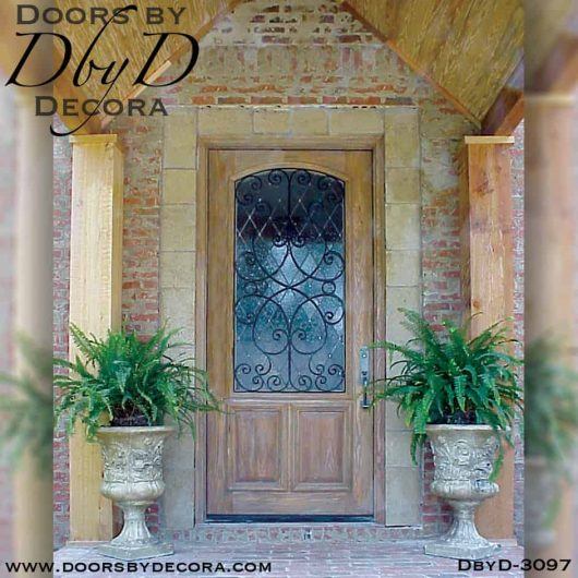 rustic leaded glass door with iron