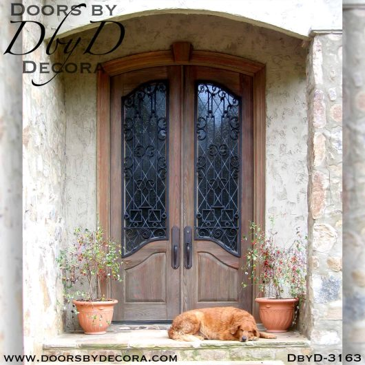 rustic leaded glass doors with iron
