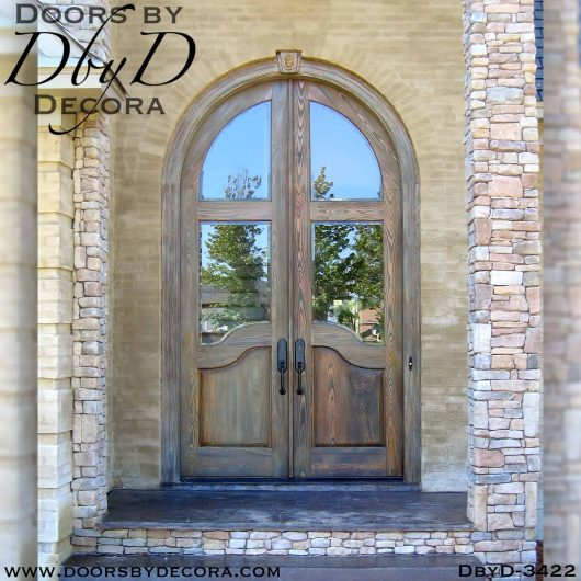 rustic tall radius double doors, wood custom exterior doors