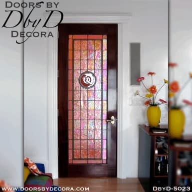 contemporary leaded glass interior door