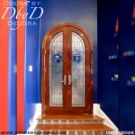 contemporary radius leaded glass doors