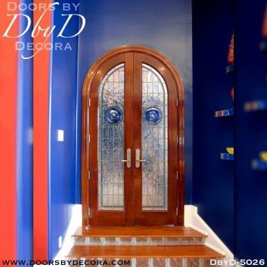 contemporary radius leaded glass doors