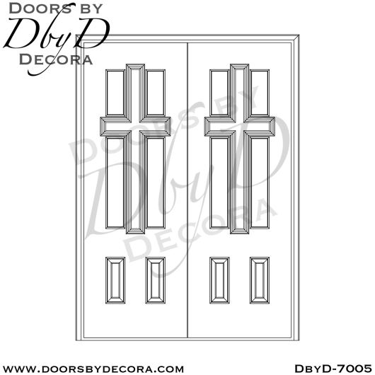 church painted cross doors with glass