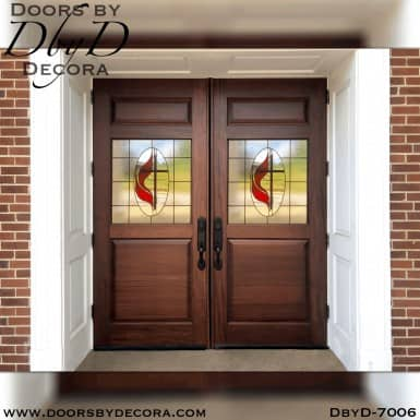 Custom Church Methodist Cross Leaded Glass Doors - Doors by Decora