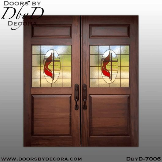 church methodist cross leaded glass doors