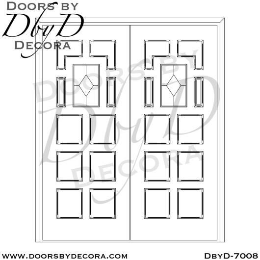 church 10 panel leaded glass door