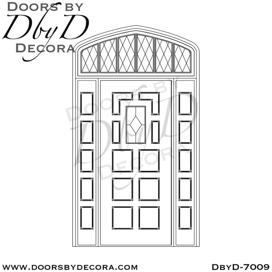 church 10 panel door and lead glass transom