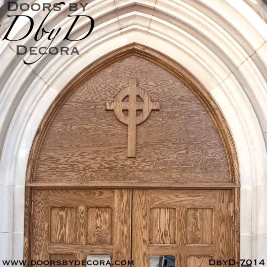 church double doors with cross