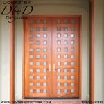 modern wood and glass double doors