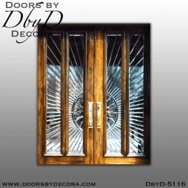 modern leaded beveled glass doors