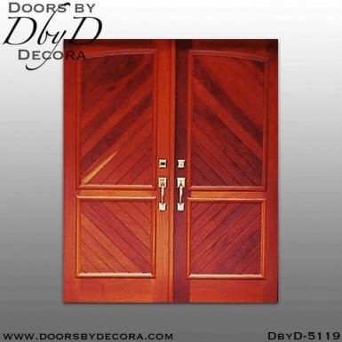 modern v-groove panel double doors