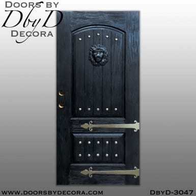 rustic black lion head doors