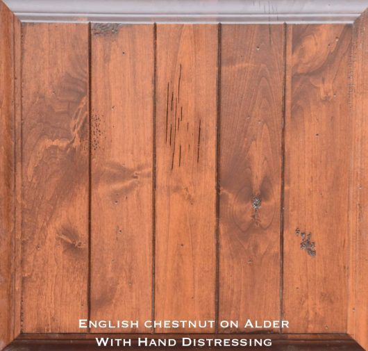 alder door with special distressed english chestnut stain