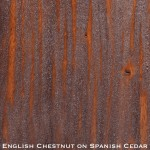 spanish cedar door stained with english chestnut stain