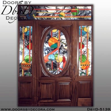 modern oval stained glass door