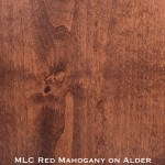 alder door stained with red mahogany stain
