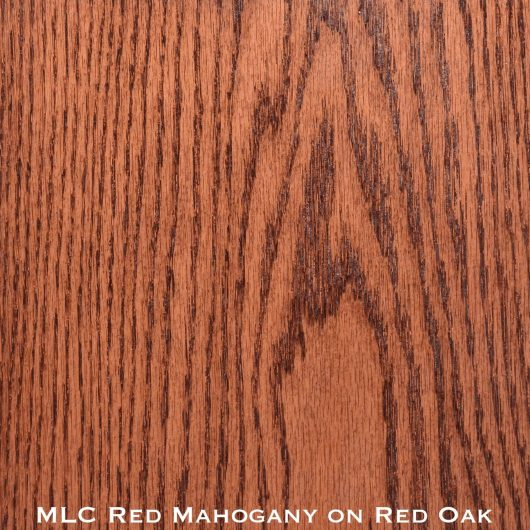 red oak door stained with red mahogany