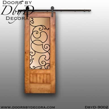 specialty double barn door with iron