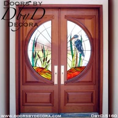modern doors with blue heron