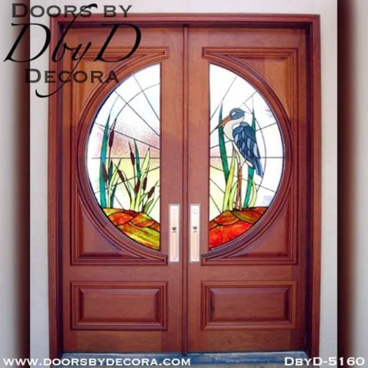 modern doors with blue heron